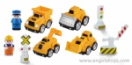 3 pcs Cartoon Trucks with Doll and Road Sign